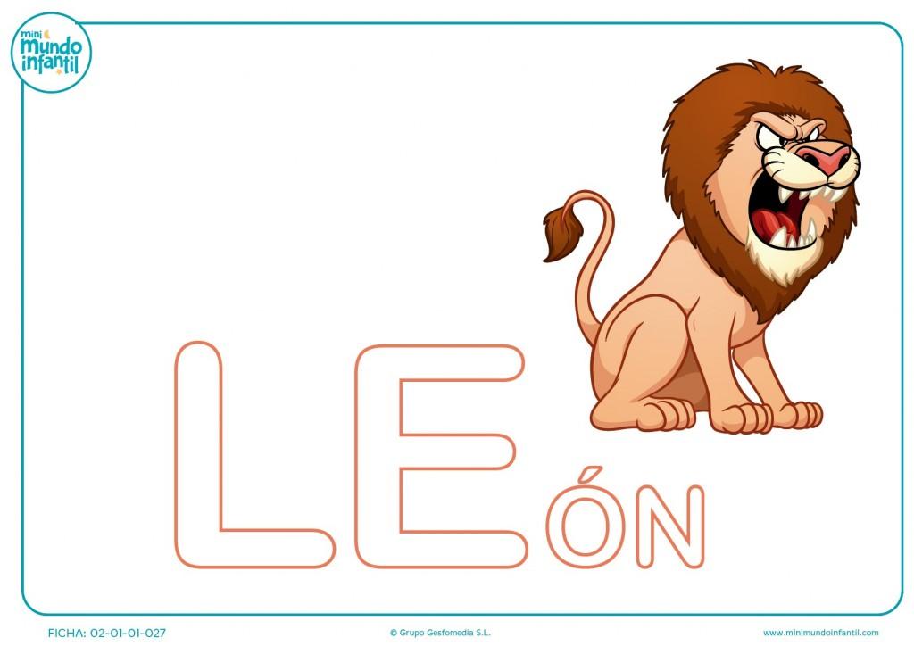 Sigue y colorea la sílaba LE de león en mayúsculas para infantil