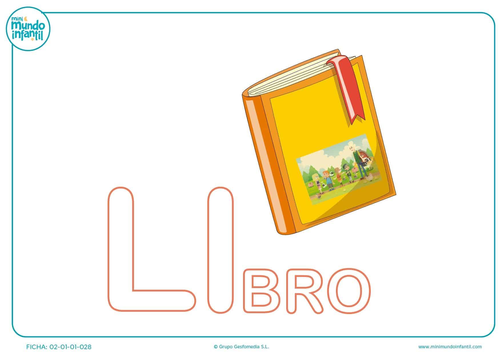 Rellena con color la sílaba LI de libro para niños de infantil