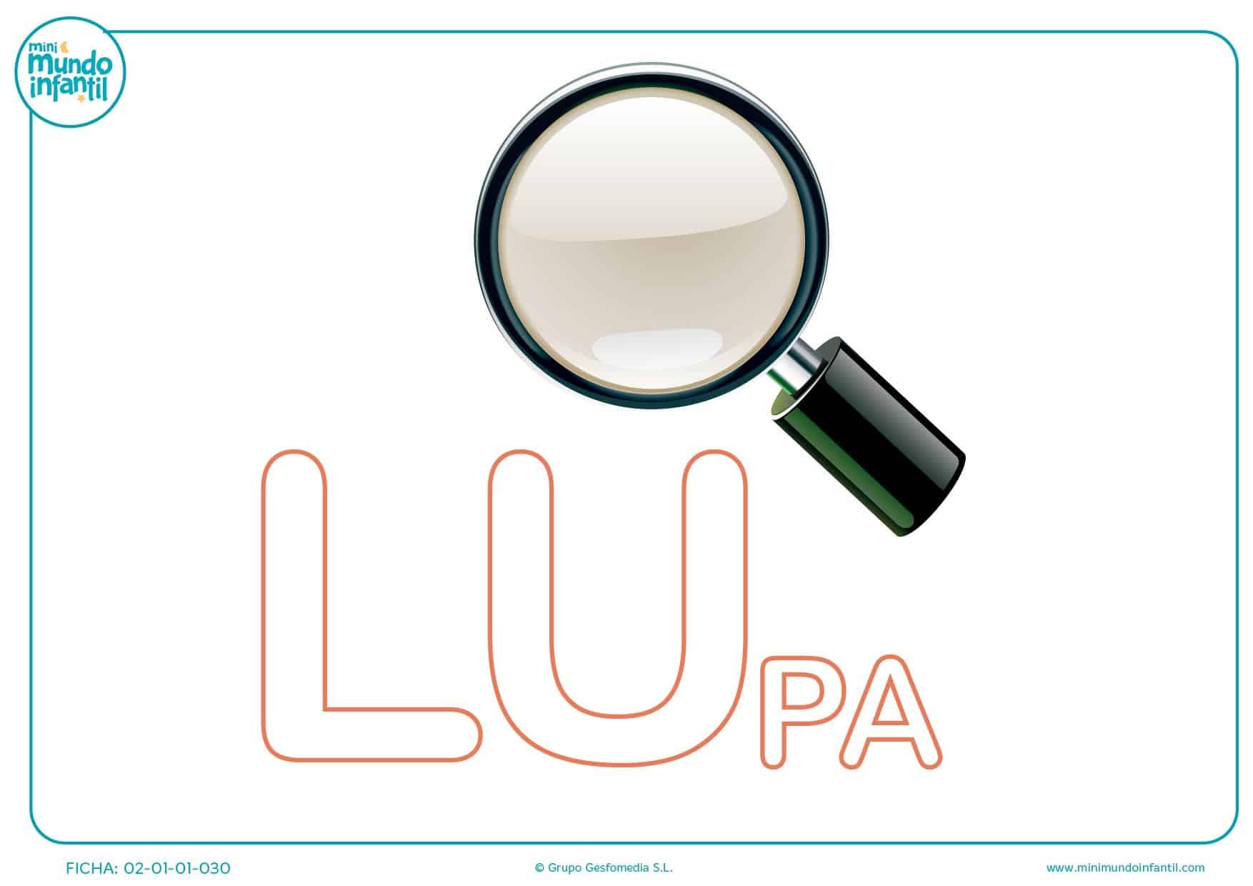 Colorea la sílaba LU de lupa para completar la palabra para infantil