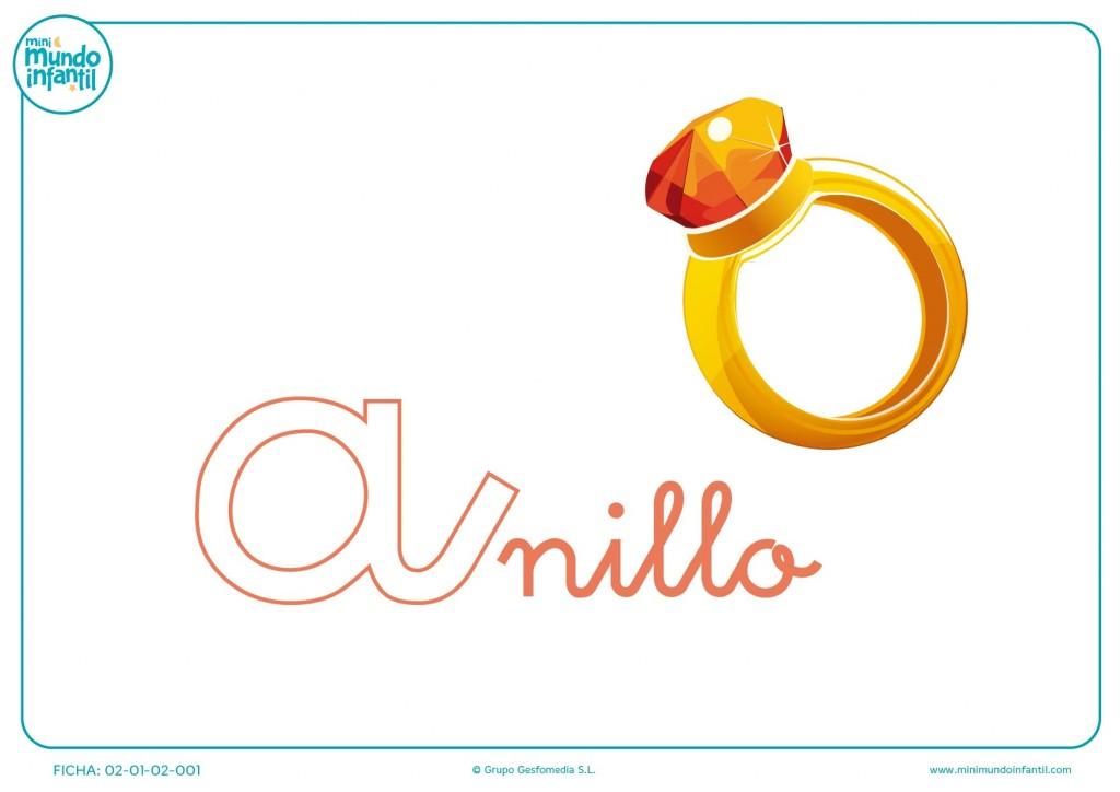 Letra a de anillo en minúsculas para colorear