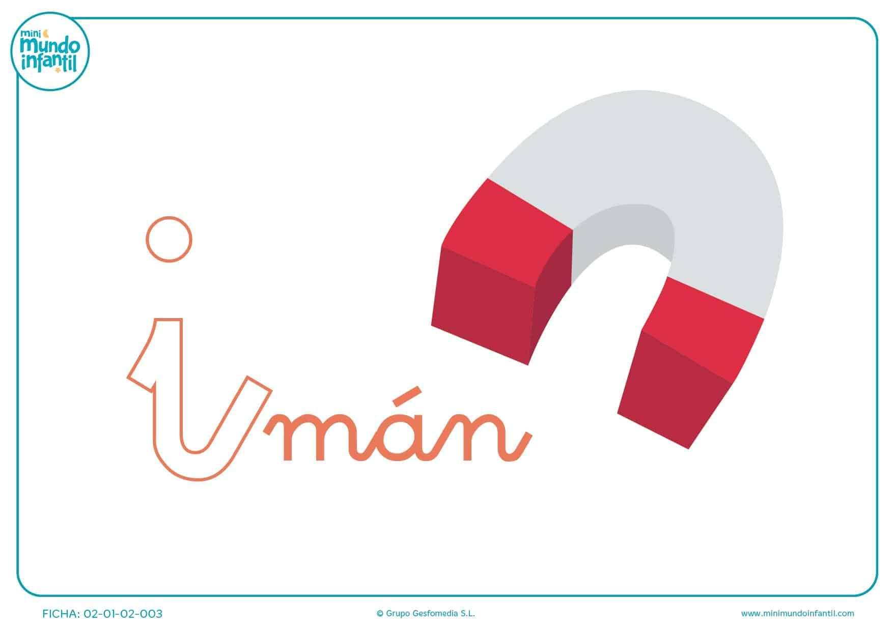 Letra i de imán en minúsculas para pintar