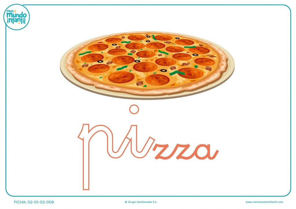 Letras pi de pizza en minúsculas para pintar