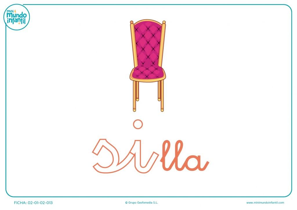 Letras si de silla en minúsculas para pintar