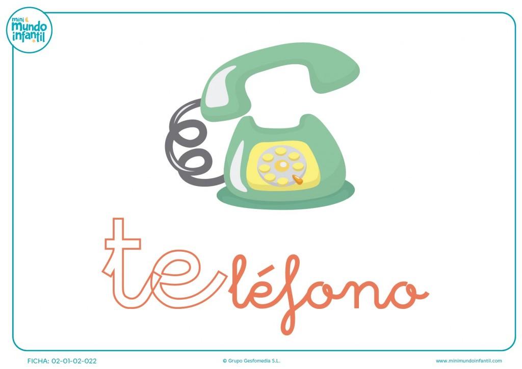 Letras te de teléfono en minúsculas para rellenar