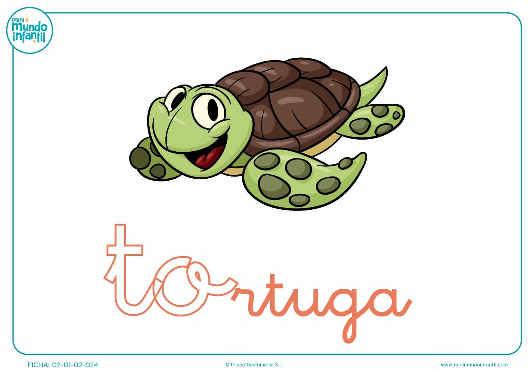 Letras to de tortuga en minúsculas para completar