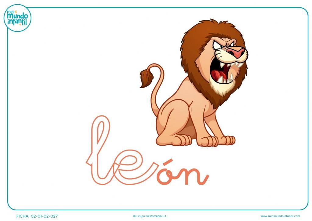 Letras le de león en minúsculas para rellenar