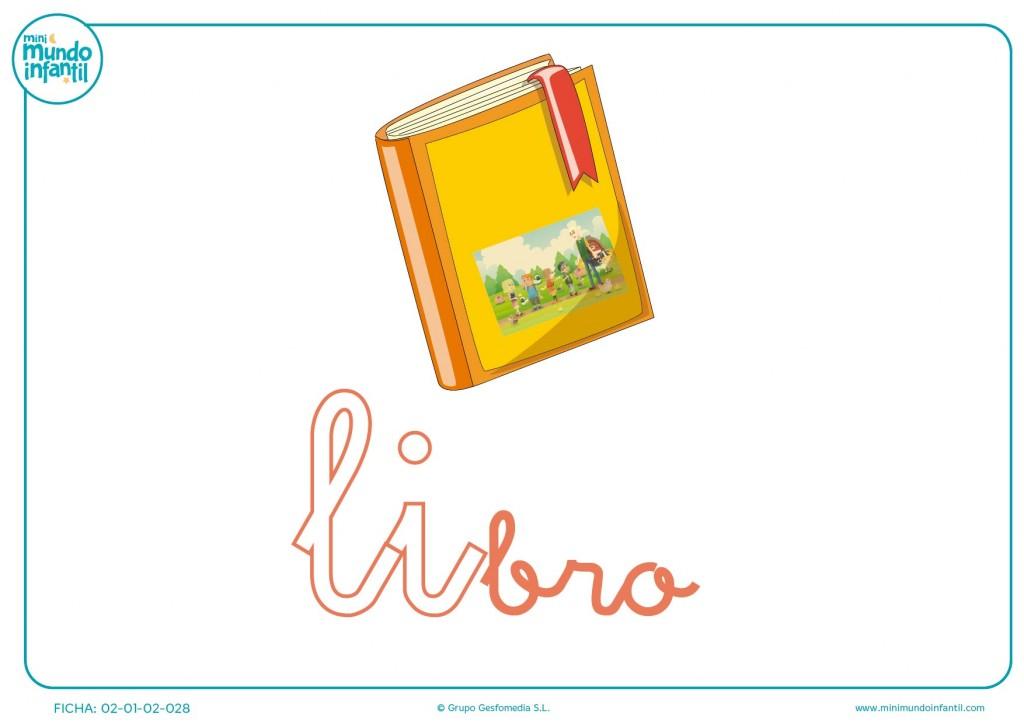 Letras li de libro en minúsculas para pintar