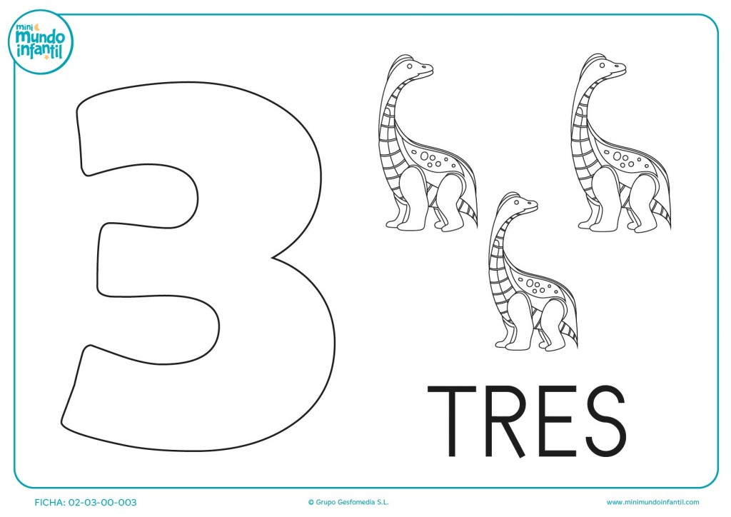 El número tres es para colorear los dinosaurios en el colegio