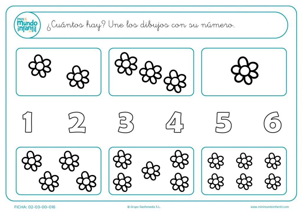 Unir los dibujos con su número del 1 al 6
