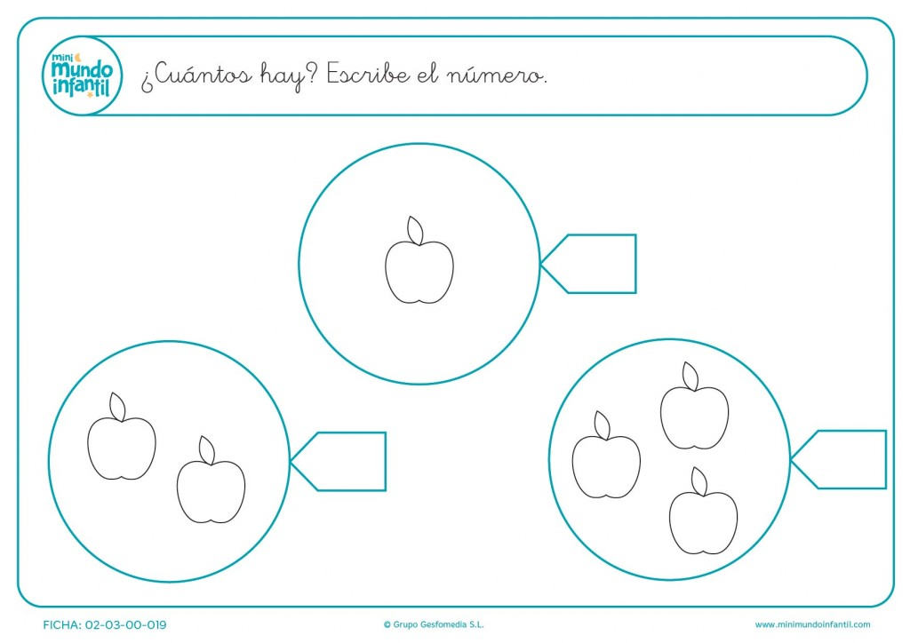 Escribir el número de manzanas y colorear de cada círculo