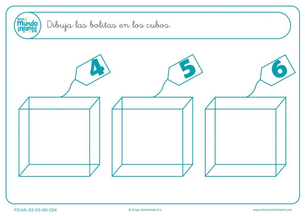 Trazar y colorear el número de bolas del 4 al 6 que hay escrito en cada cubo