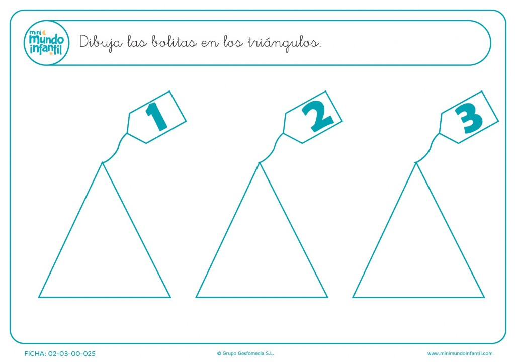 En cada triángulo pintar las bolitas del uno al tres