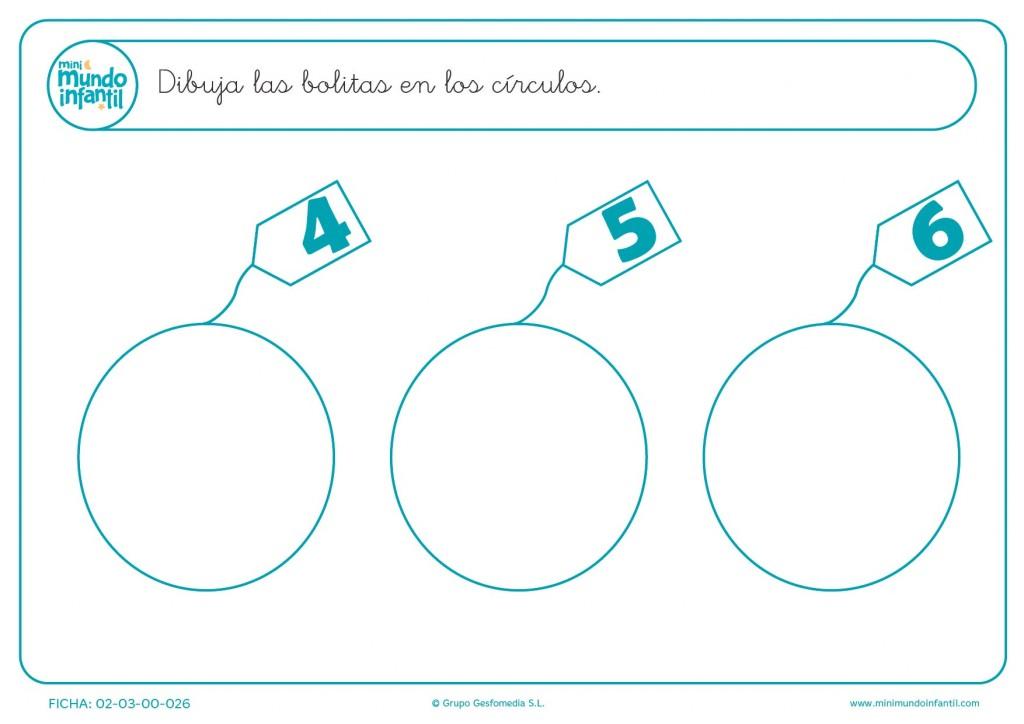 Dibujar el número de bolitas del 4 al 6 que hay en cada círculo