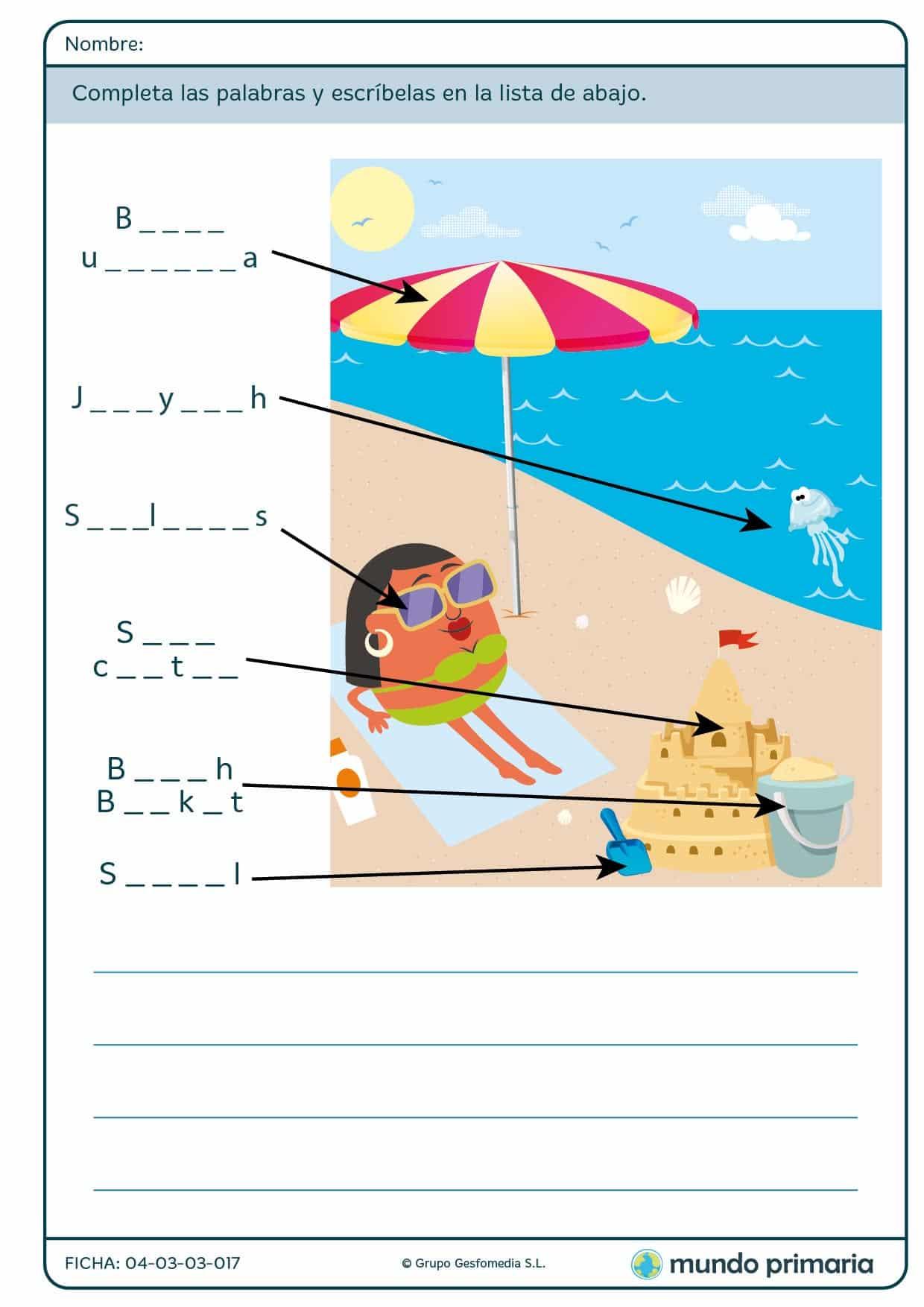 Ficha de complete the words para verano para primaria