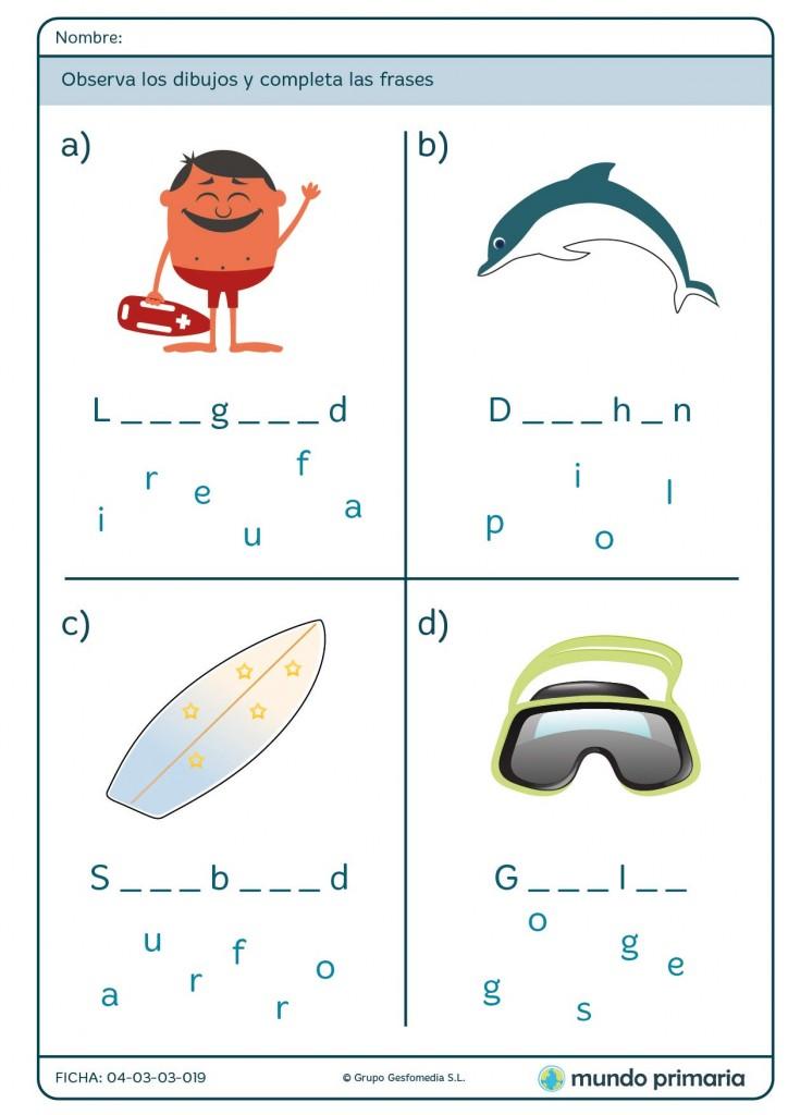 Ficha de ordenar las letras sobre el verano en inglés para primaria