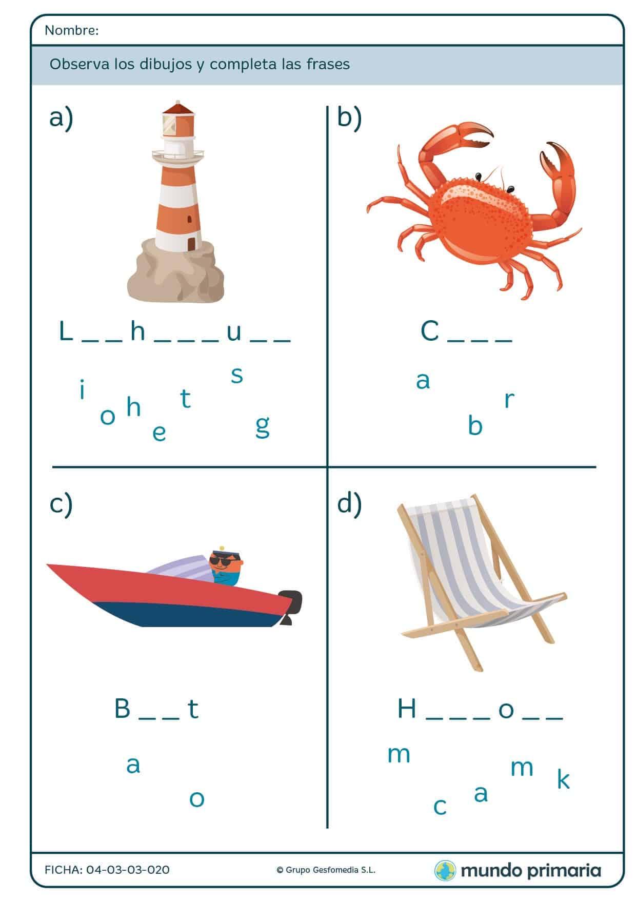 Ficha de escribir letras y formar palabras en inglés para primaria