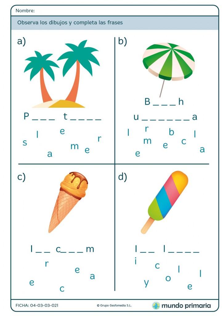 Ficha de spelling en inglés para niños de 2º de primaria