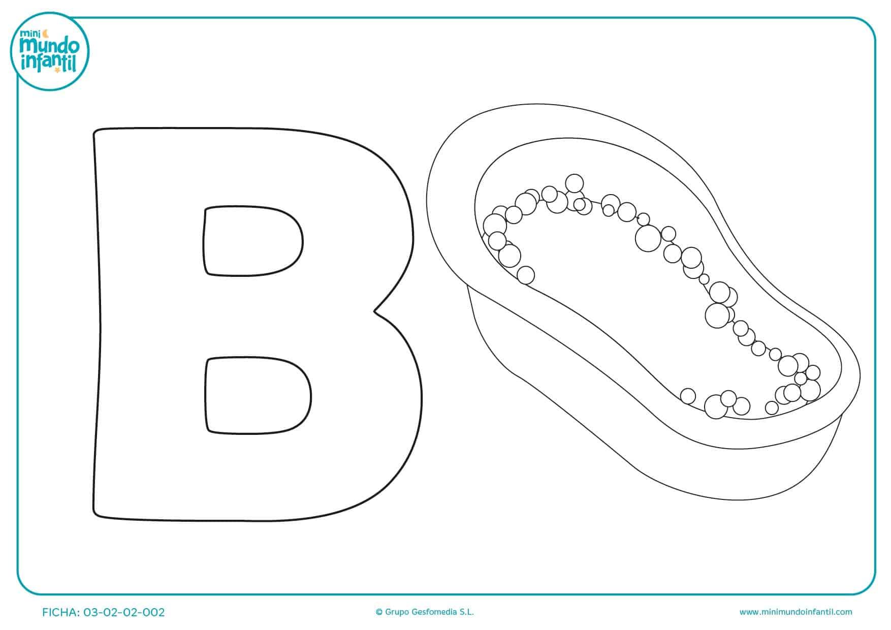 Rellenar la letra B y el dibujo de la bañera con tus colores favoritos