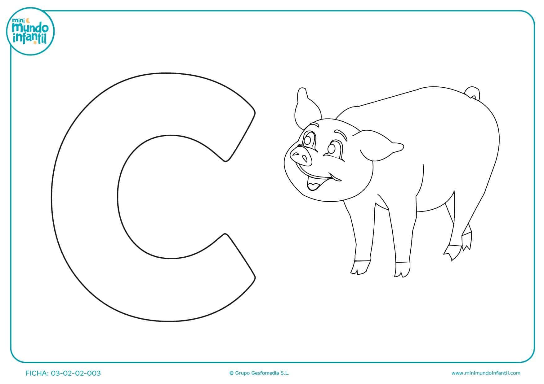 Pintar la letra C que corresponde a la primera letra de cerdito