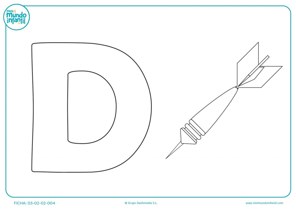 Pinta el interior de la letra D y la imagen del Dado de varios colores