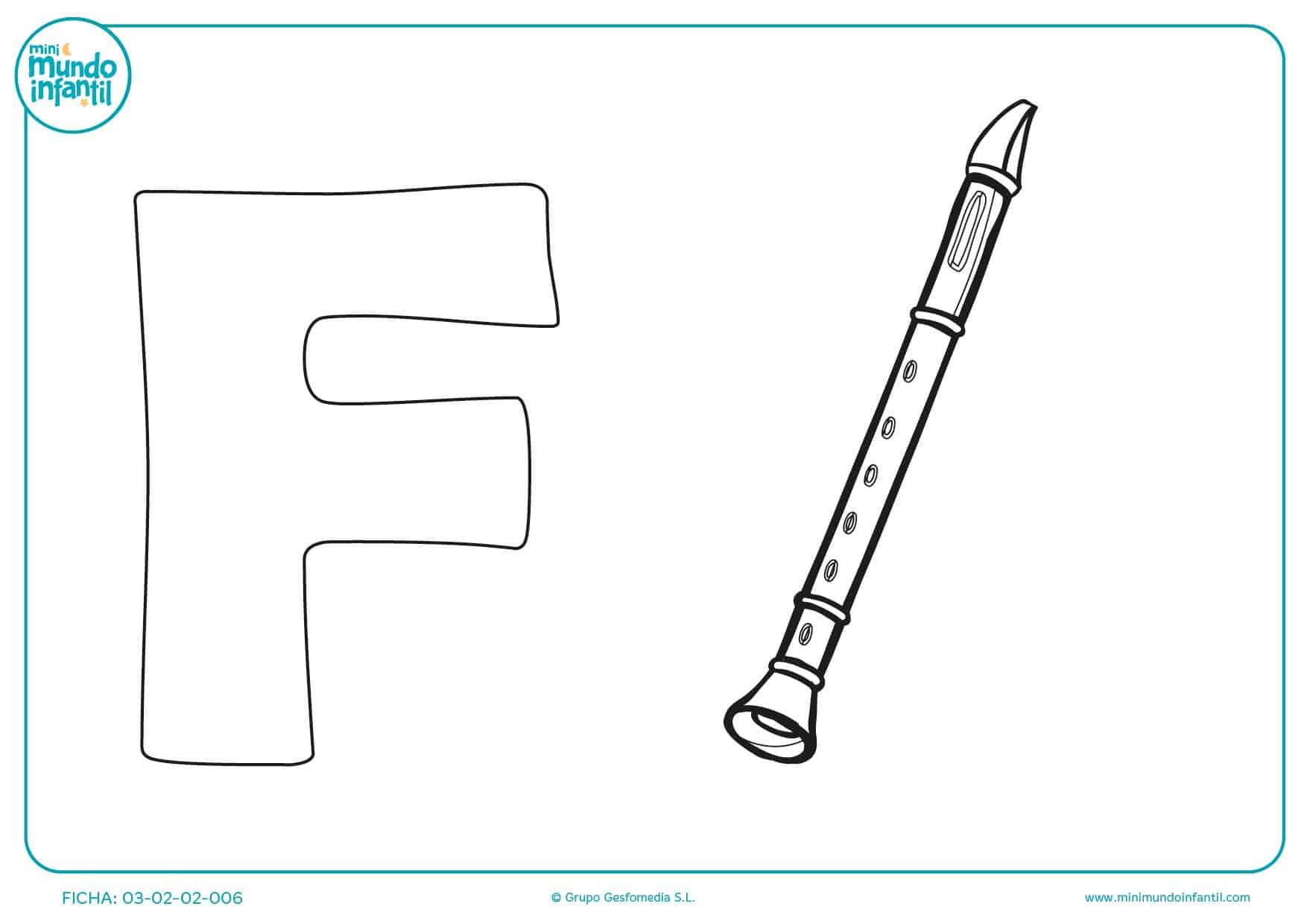 Pintar la letra F y la imagen de la Flauta