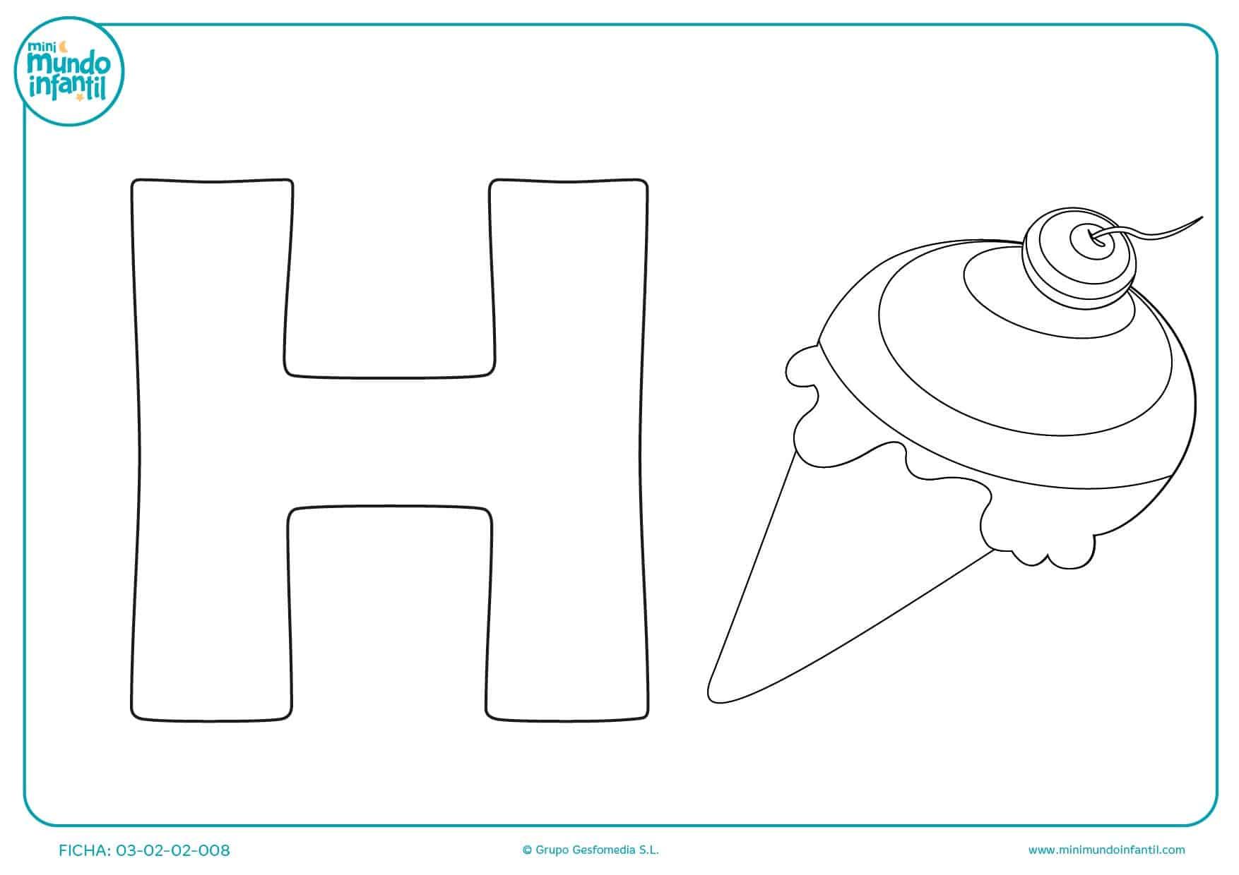 Colorear la letra H y el dibujo del helado para infantil