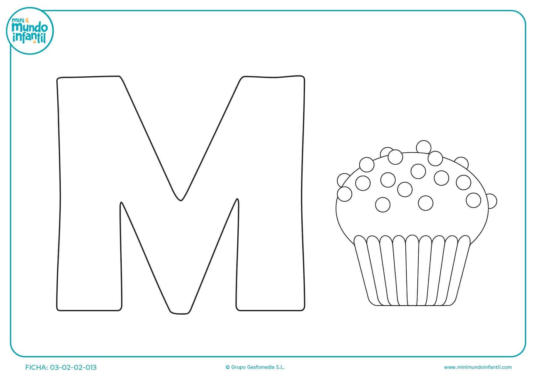 Escribir y pintar la letra M para niños infantil de magdalena