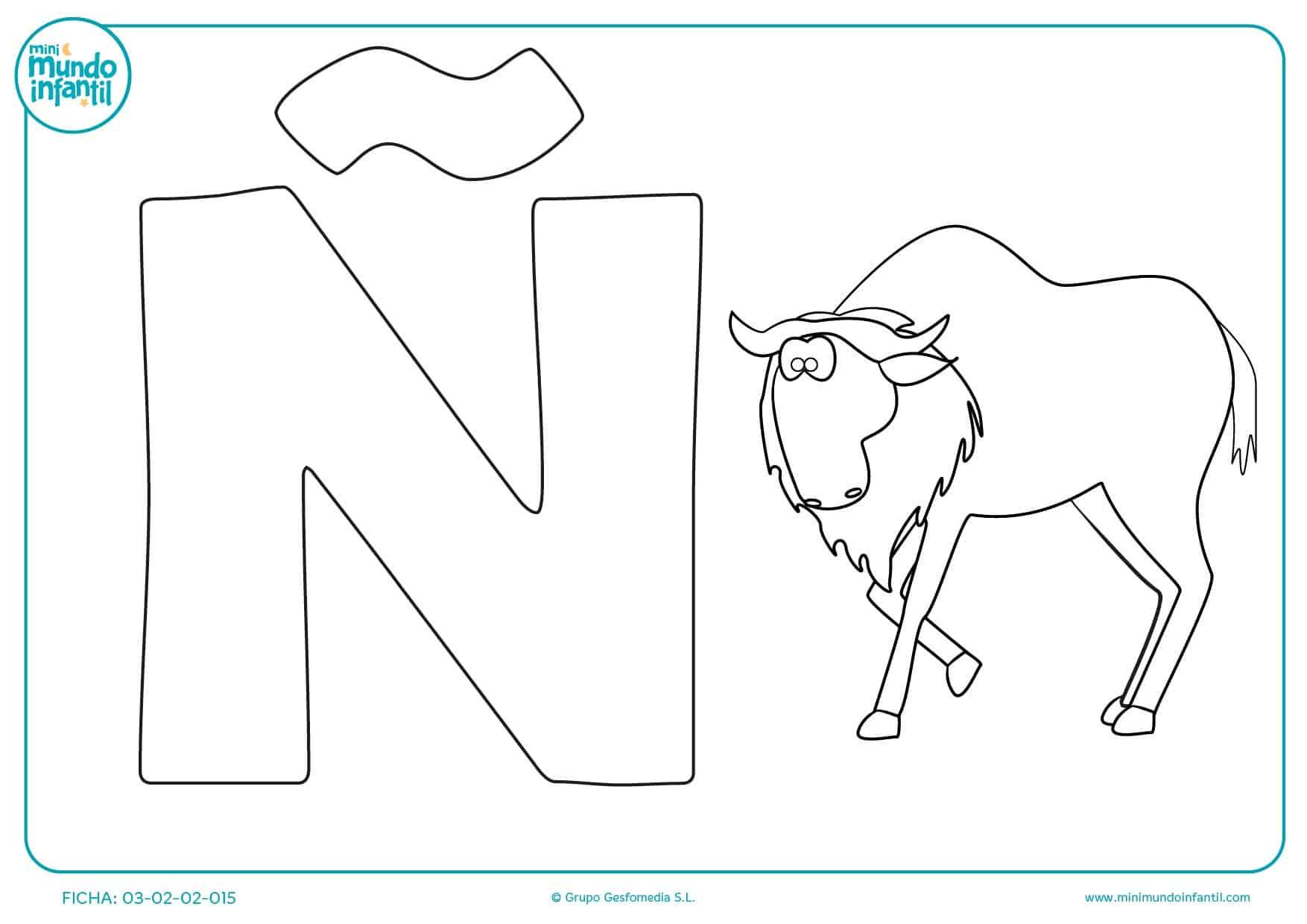 Dibujar y pintar la letra Ñ