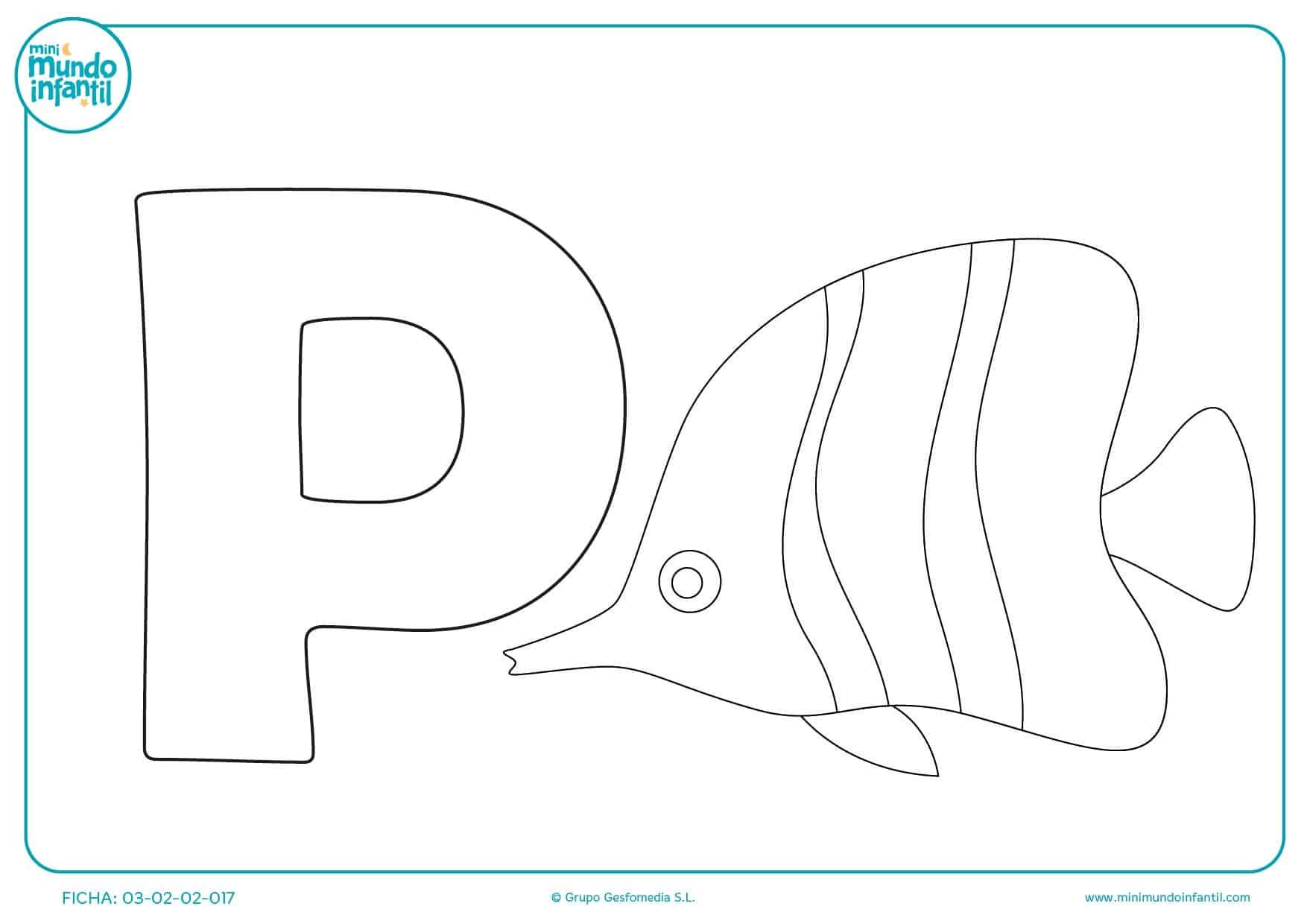Colorear la letra P de pez a rayas pinta los detalles aprendiendo