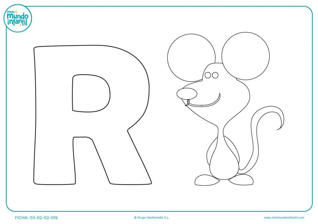 R para escribir ratón pinta y colorea este bonito dibujo en el colegio