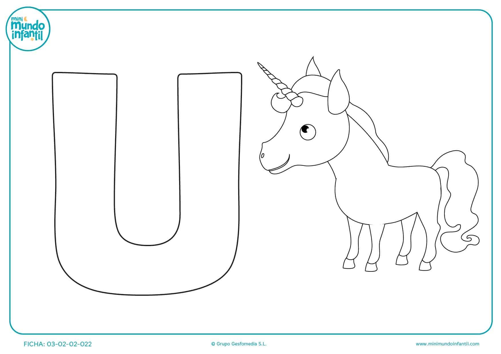 Unicornio empieza por U y así puedes repasar esta letra de infantil
