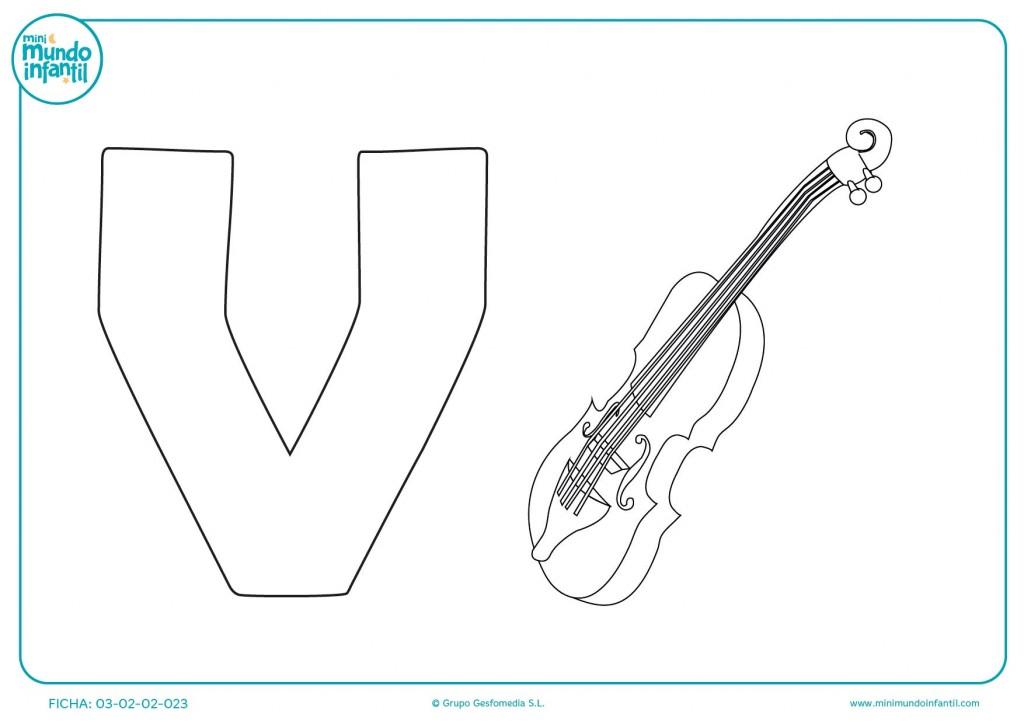 Dibujar y pintar la letra V