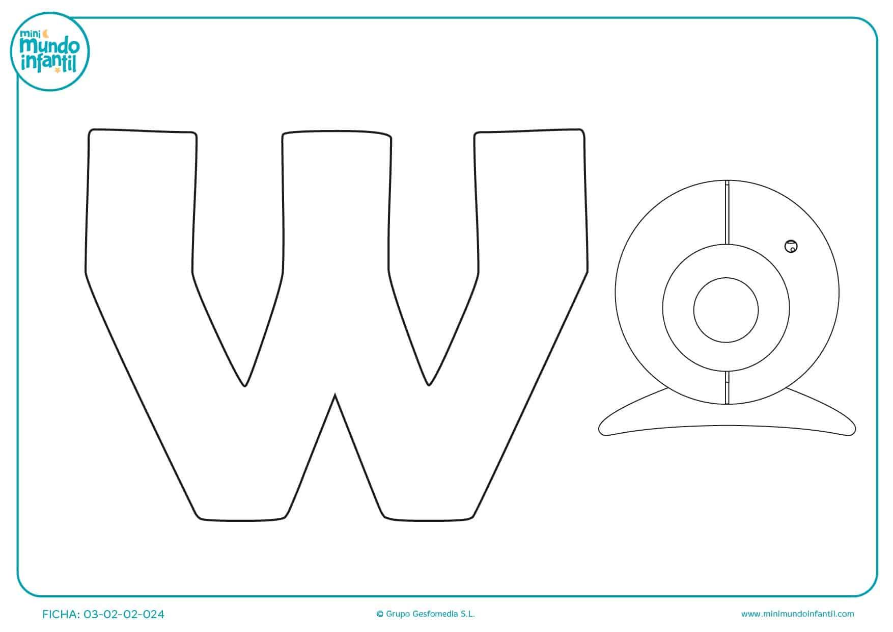 Aprender la W si rellenas con color la webcam para repasar lo del cole