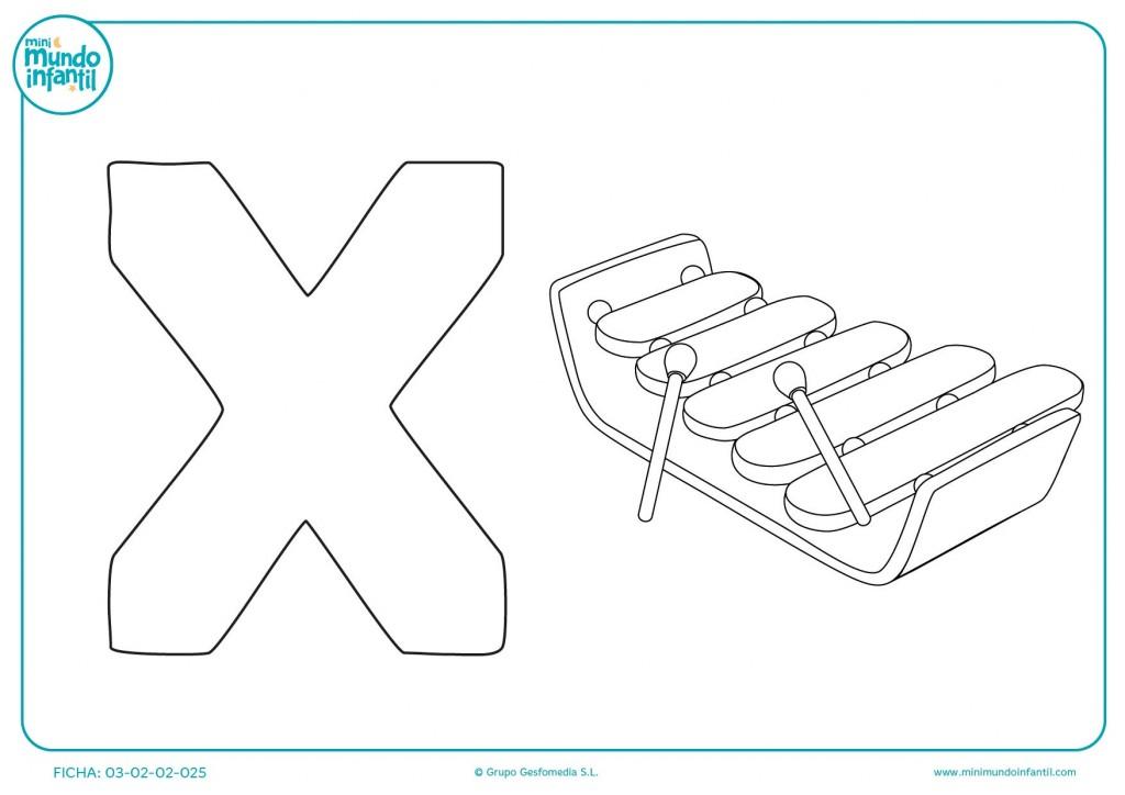 Colorear la letra X de xilófono con las pinturas que más te gusten