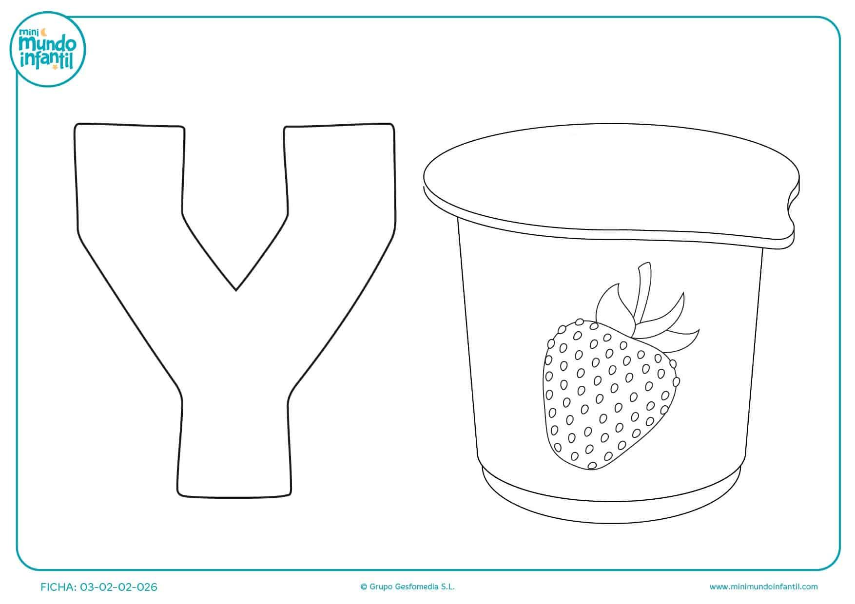 Niño de 5 años colorea Y de yogur de fresa para aprender las letras