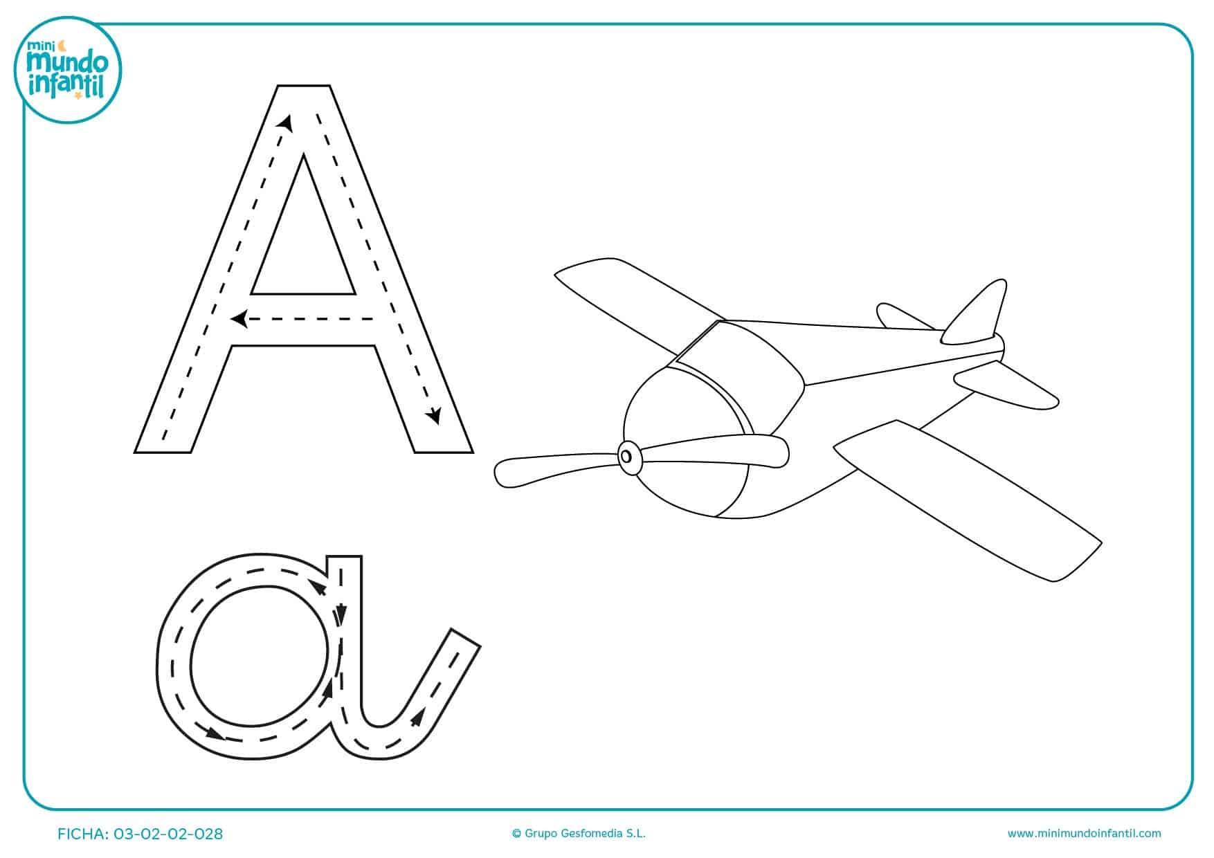 Repasa el trazo de la vocal A y colorea el dibujo del avión