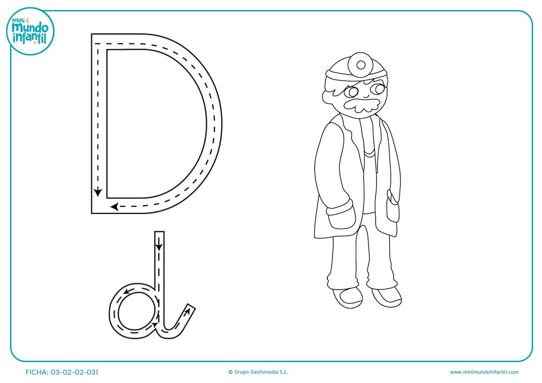 Repasar las líneas para aprender a trazar la letra D