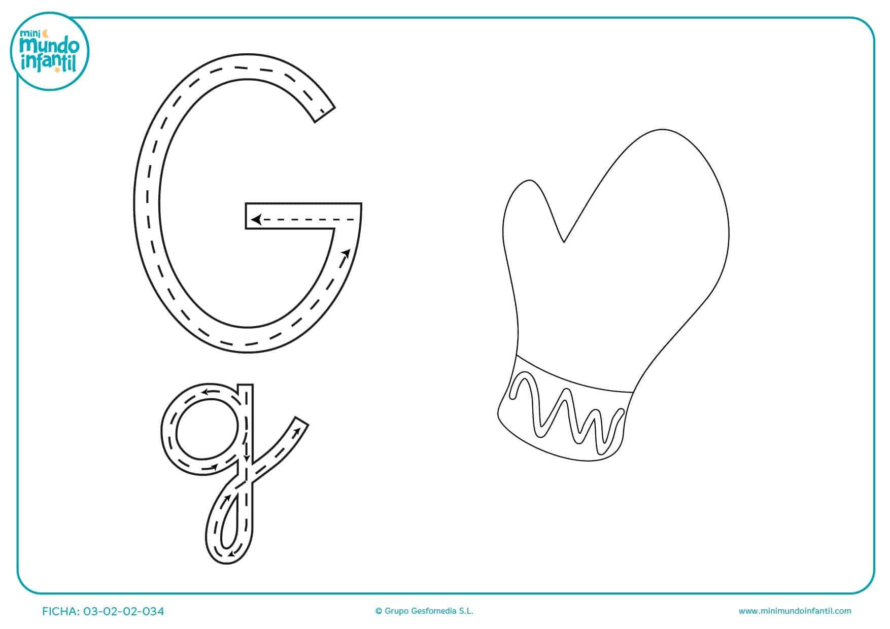 Aprender la letra G completando su trazado