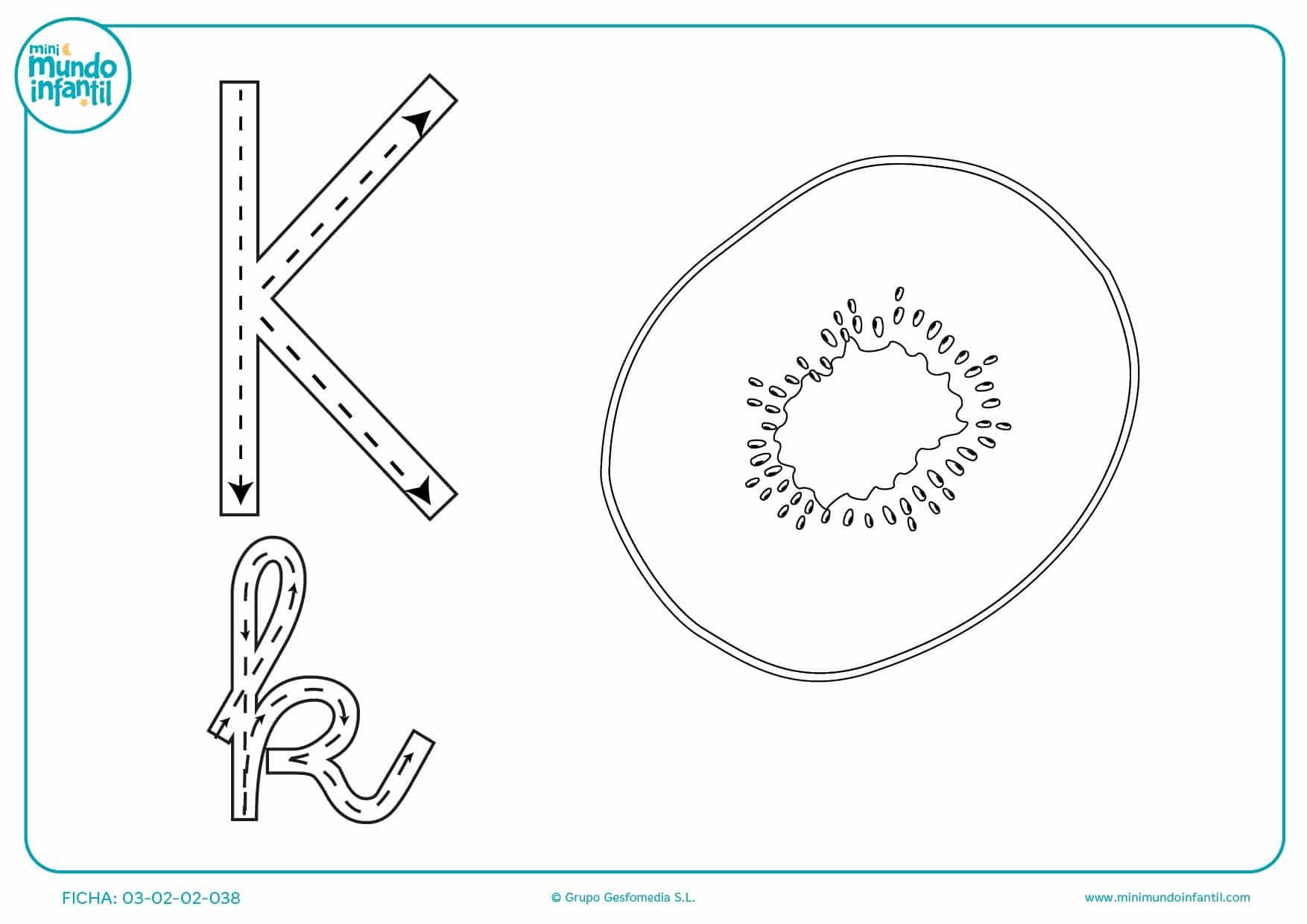 Continuar el trazo para estudiar a escribir la letra K
