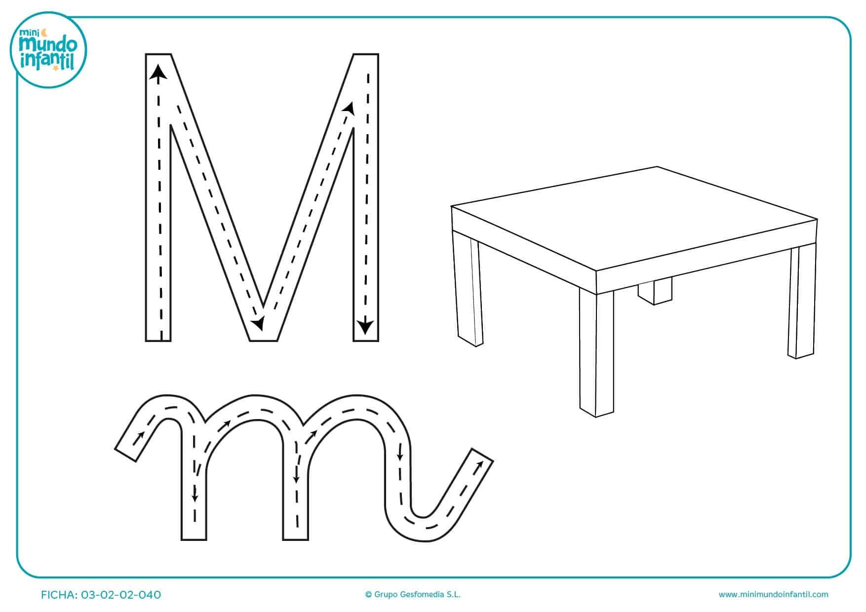 Seguir las líneas de puntos para escribir la letra M