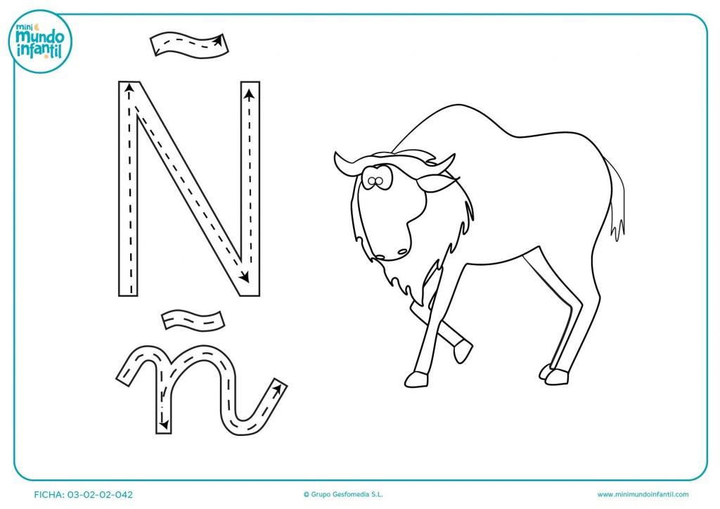Repasar las líneas contínuas y aprender la letra Ñ