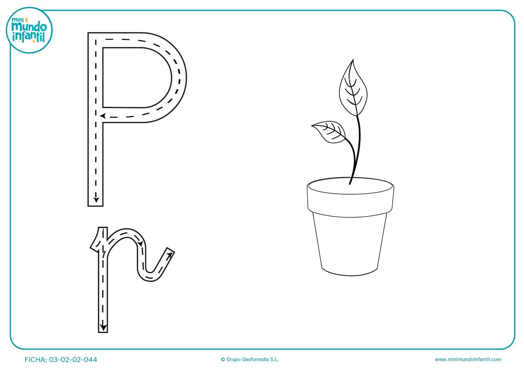 Aprender y seguir el trazo de la letra P