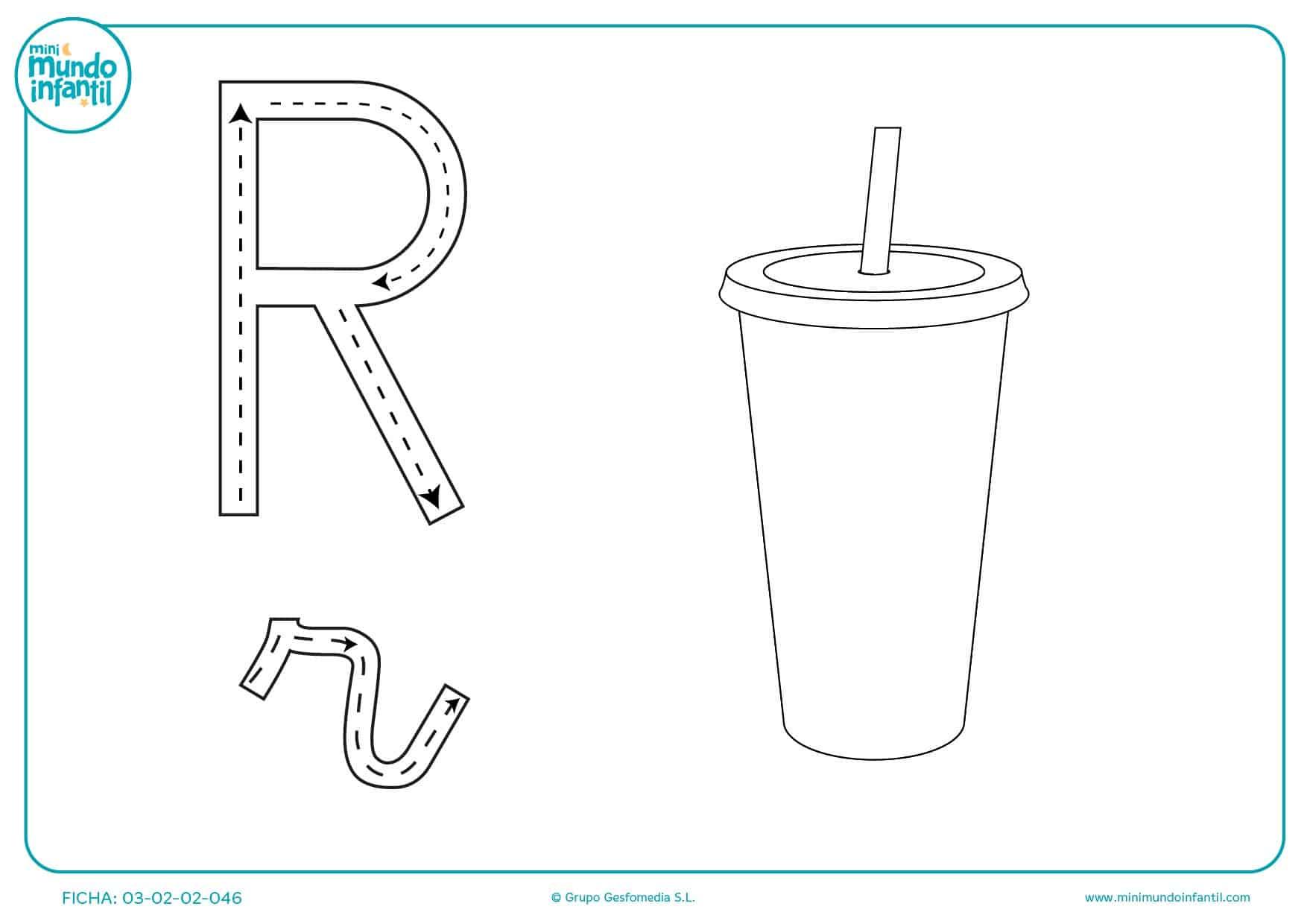 Completar el trazado de la letra R
