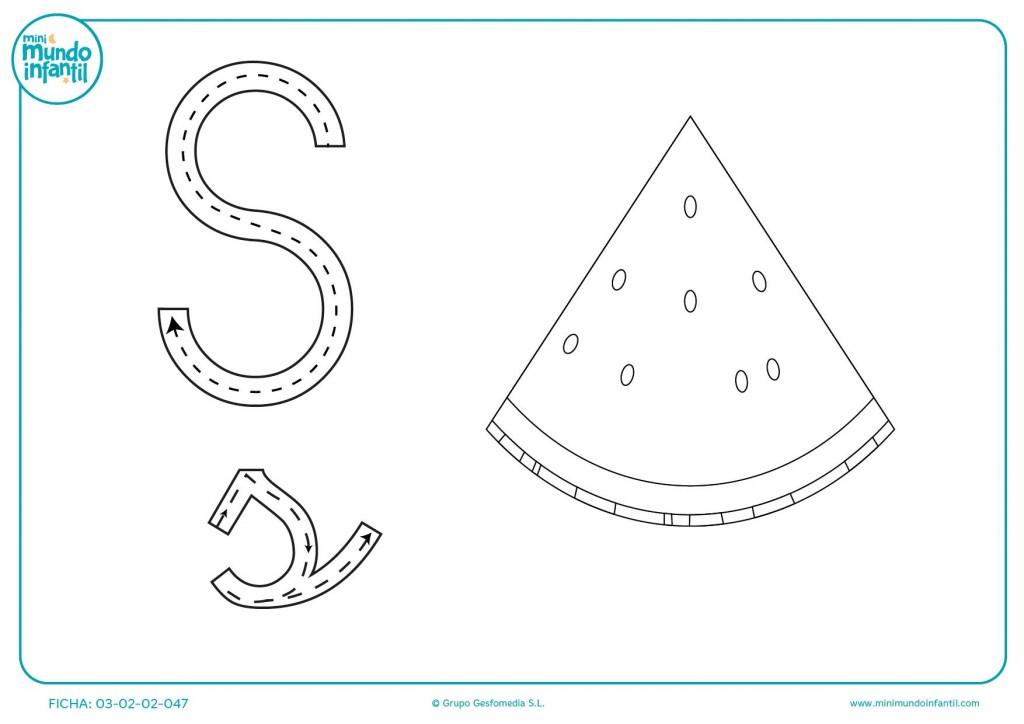 Continuar las líneas para escribir la letra S