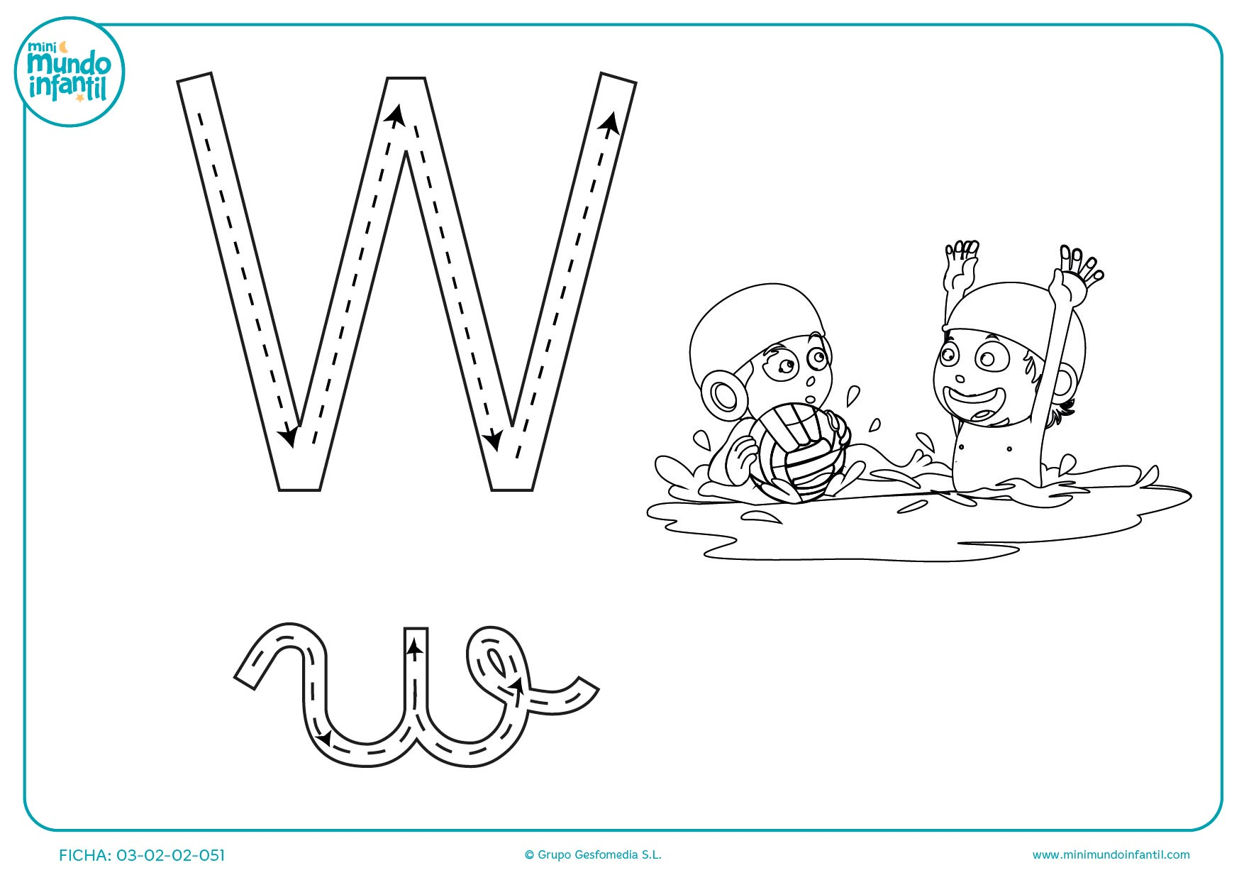 Completar el trazo de la letra W para aprender a escribirla