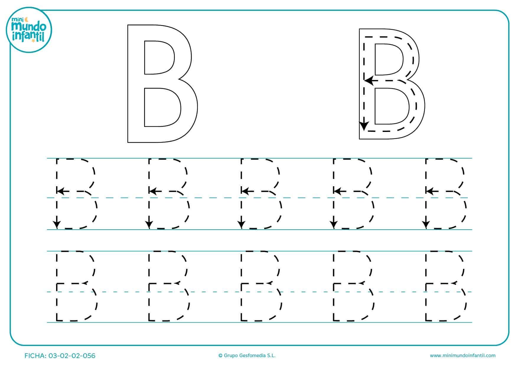 Completar todas las líneas de la letra B para aprenderla