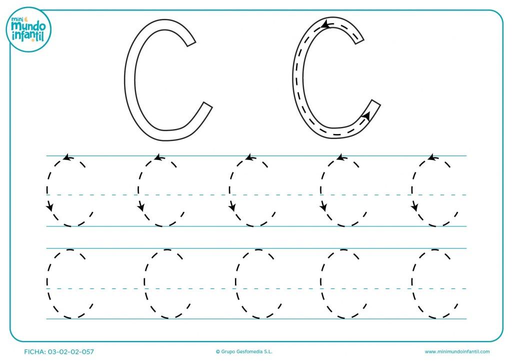 Estudiar la letra C siguiendo el trazo