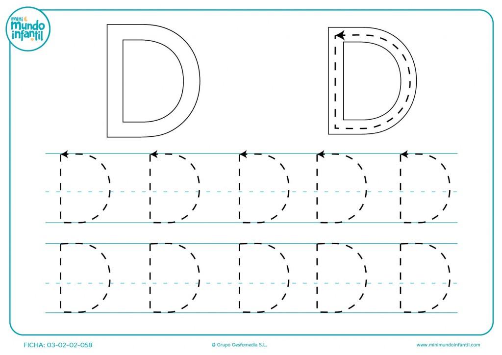 Aprender la letra D repasando los trazados