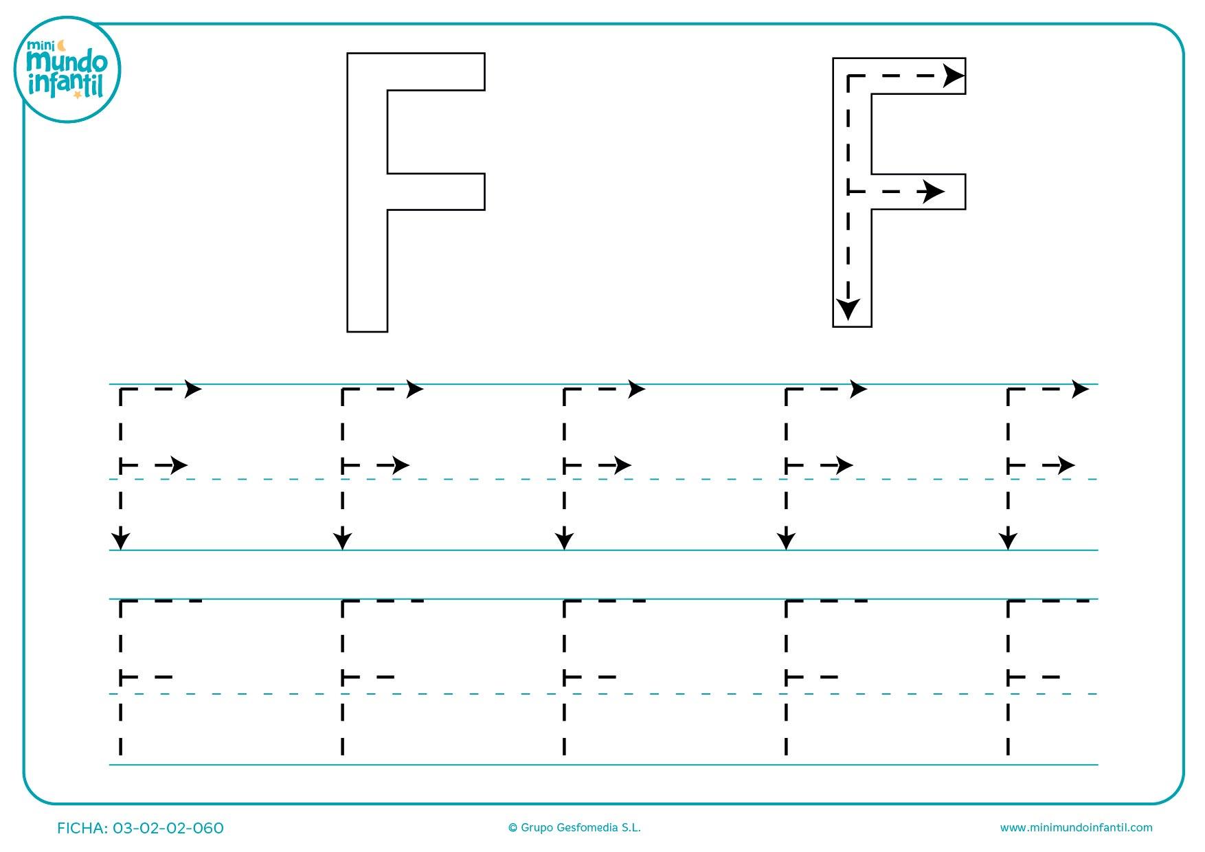 Seguir todos los trazados de la letra F para completar todas las letras