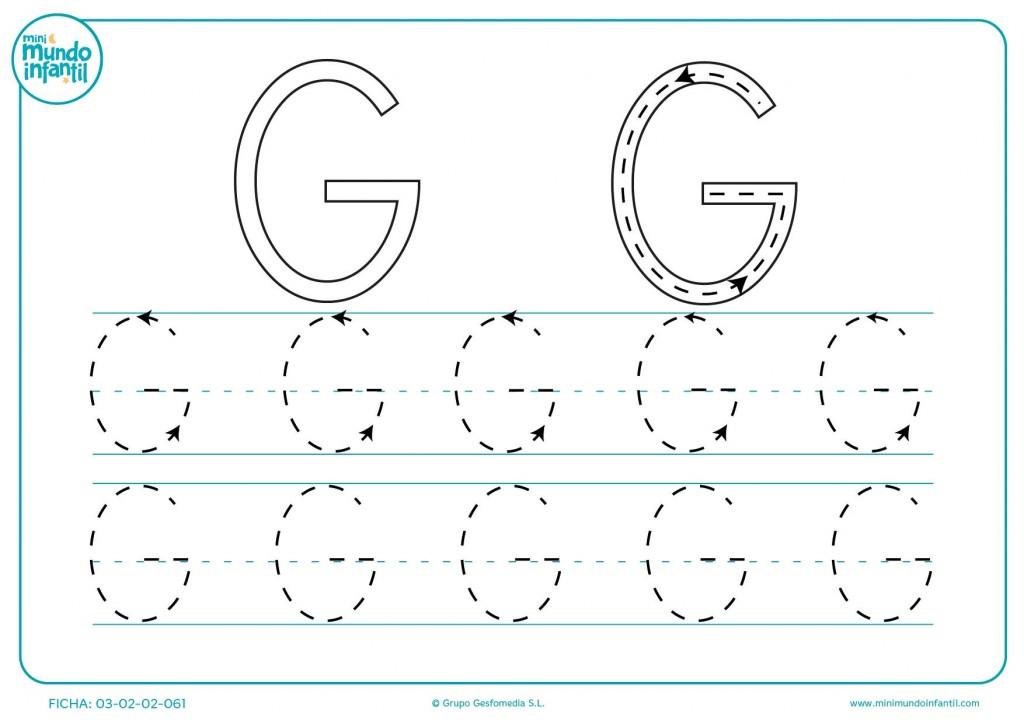 Repasar las líneas de la letra G para estudiarla